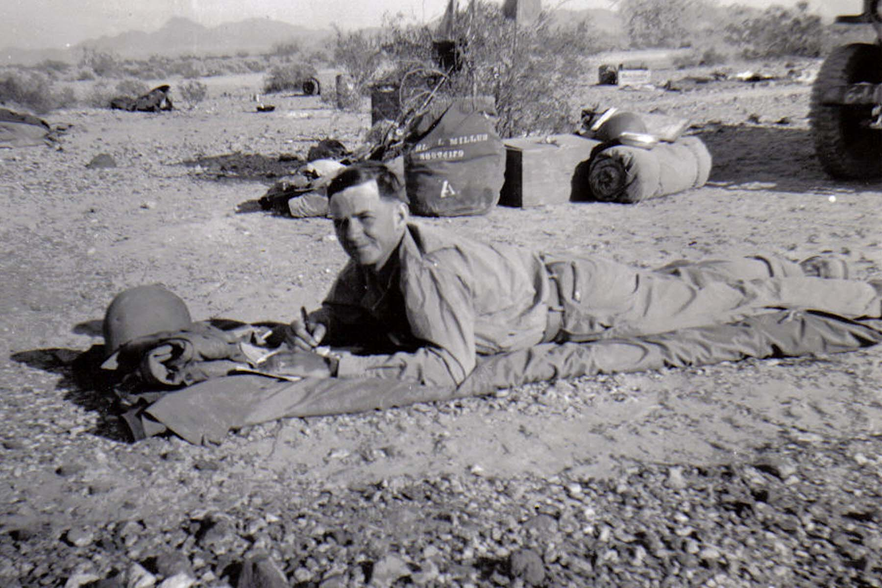 B34 Camp Young_ CA - Tom Fallen writes home during weekend rest on 20-day maneuver