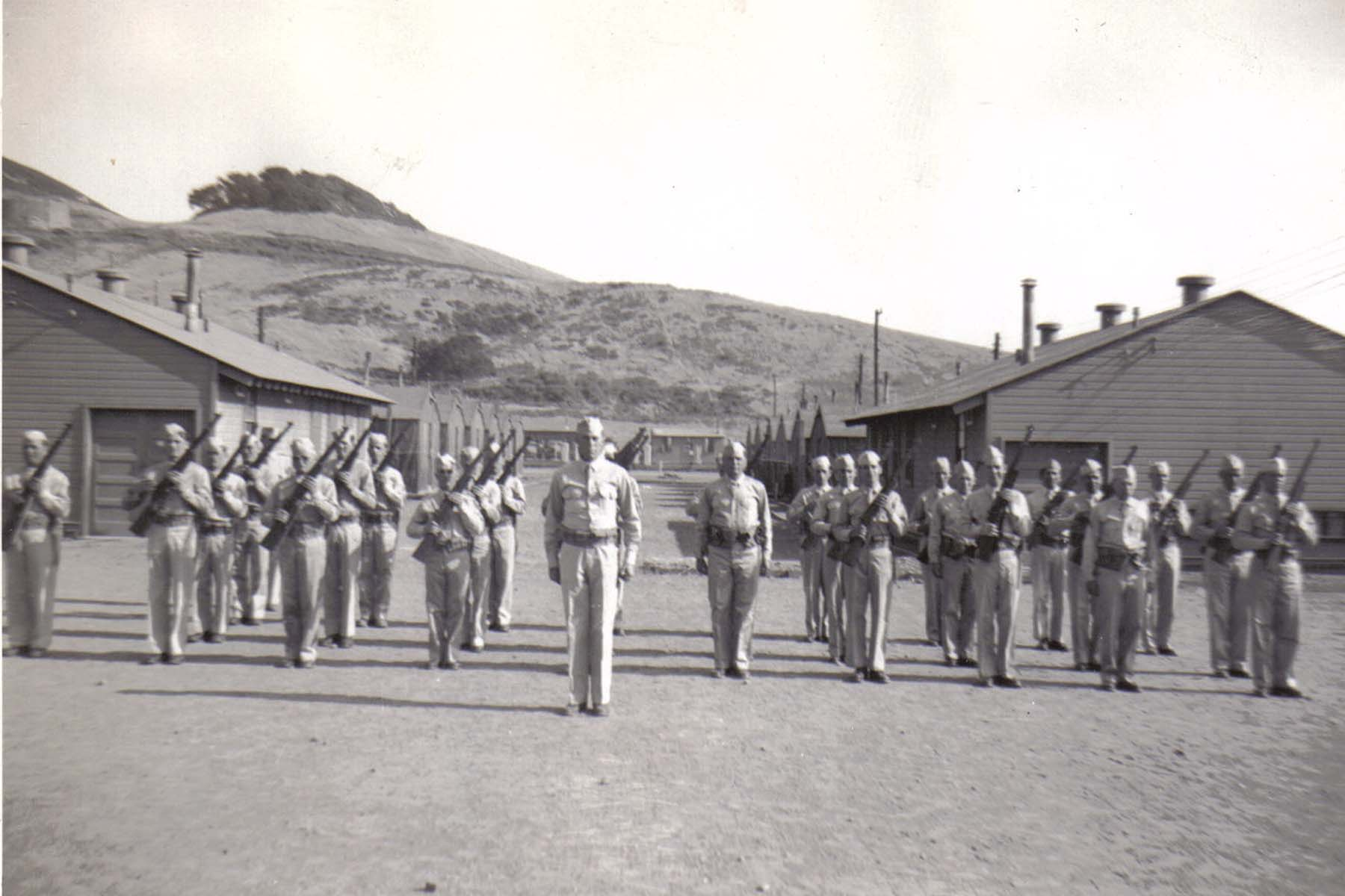 C11 Camp San Luis Obispo - 1st Platoon_ F Company at _port arms_