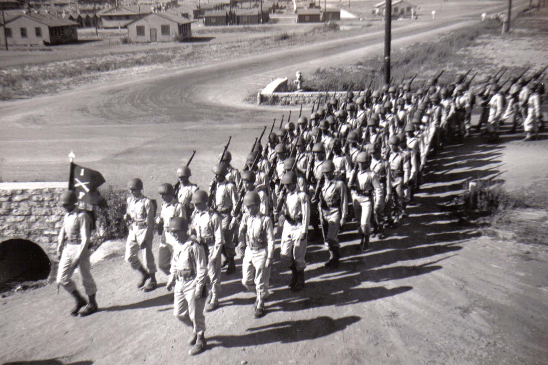 C23 Camp San Luis Obispo - August 2_ 1943 parade - F Company enters the parade ground