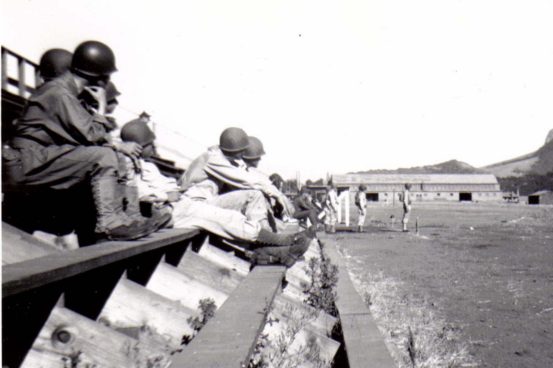 C24 Camp San Luis Obispo - August 2_ 1943 parade - Colonel Privett and staff arrive