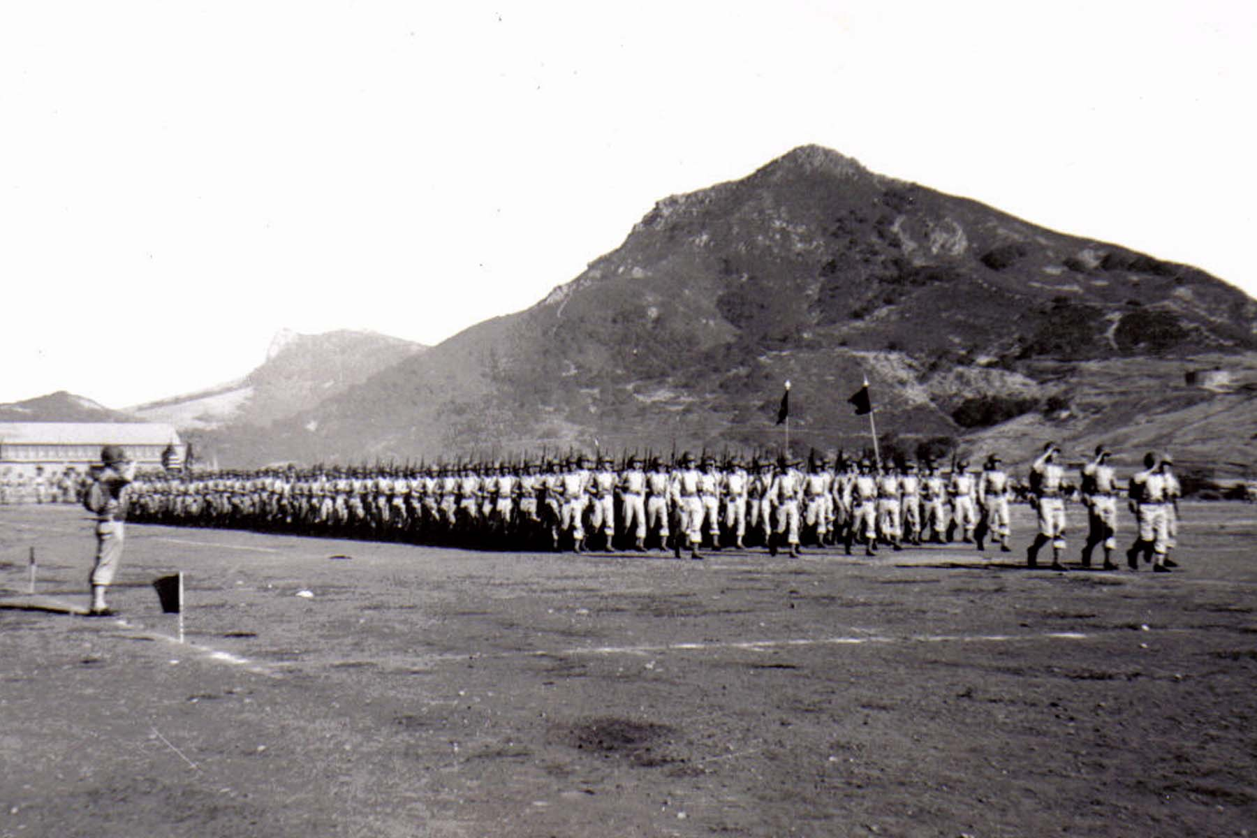 C28 Camp San Luis Obispo - August 2_ 1943 parade - The Second Battalion _presents arms_