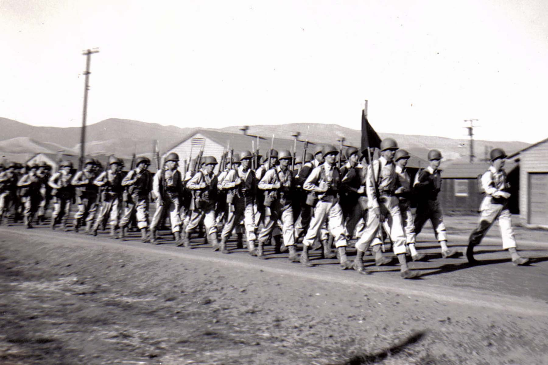 C30 Camp San Luis Obispo - August 2_ 1943 parade - F Company heads home