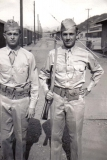 C05 Camp San Luis Obispo - Montgomery _L_ and Tom Fallen before formation_ Carbine carried by Tom Fallen was known as a _pe