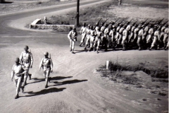 C22 Camp San Luis Obispo - August 2_ 1943 parade - Lt_ Colonel Hodgin leads the First Infantry onto the parade ground
